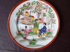 ANTIQUE Plate FINE PORCELAIN JAPAN 20 century handpainted Geisha gold marked