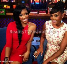 "Porsha Stewart's ""Watch What Happens Live"" Red One Sleeve Dress & Giuseppe Zanotti Ankle Strap Haircalf Heels"