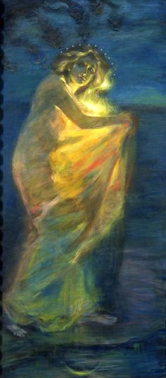 Woman Clothed with the Sun by Alice Pike Barney - 1904  A great sign appeared in the sky, a woman clothed with the sun, with the moon under her feet, and on her head a crown of twelve stars. Revelation 12:1
