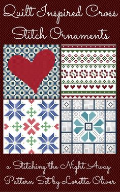 4 pattern set of heart and quilt inspired cross stitch ornaments