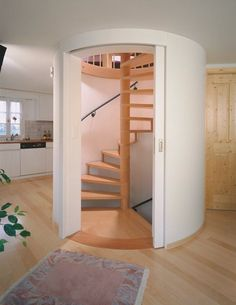 Wall Sliding Doors Interior : Interior Design Ideas Including Circle Stairs In Nice Color And White Circle Sliding Door Also Pipe Gypsum Tre...