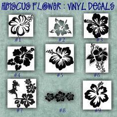 HIBISCUS FLOWER Vinyl Decals Car Window Stickers - Custom vinyl decals laptop