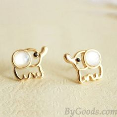 White Opal Lovely Elephant Earrings Studs. If I had my ears pierced I would so own like 100 pairs of these! Adorable!