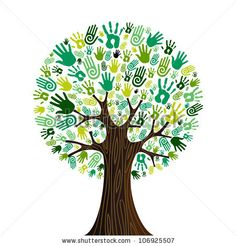 stock photo : Go green crowd human hands icons in isolated tree composition.