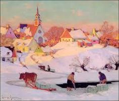 """Clarence Gagnon, """"The Ice Harvest,"""" oil on canvas. Such gorgeous, mellow light. Canadian Painters, Canadian Artists, Winter Illustration, Illustration Art, Landscape Art, Landscape Paintings, Clarence Gagnon, Group Of Seven Paintings, Winter Painting"""