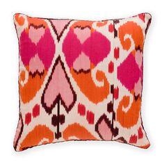 Madeline Weinrib Hot Pink & Orange Mor Ikat Pillow
