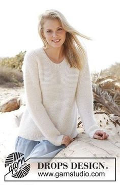 White Sand Garter Stitch Pullover in BabyAlpaca Silk and Kid Silk -- DROPS design free pattern Jumper Knitting Pattern, Knitting Patterns Free, Knit Patterns, Free Knitting, Free Pattern, Knitting Wool, Drops Design, Crochet Clothes, Pullover Sweaters