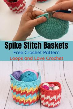 Spike Stitch Baskets - Free Crochet Pattern by Loops and Love Crochet Crochet Mug Cozy, Crochet Bowl, Crochet Basket Pattern, Knit Basket, Crochet Pouch, Crochet Yarn, Crochet Purses, Crochet Baskets, Free Crochet Slipper Patterns
