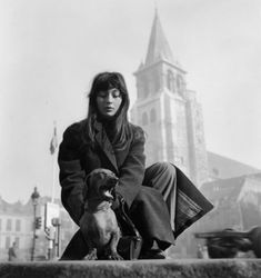 French singer Juliette Greco and her dachshund