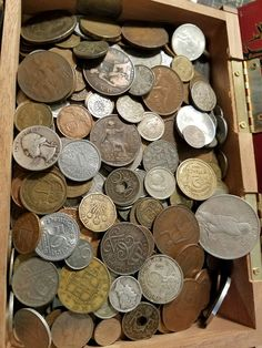 b979c3c233c9  coins JUNK DRAWER STYLE LOT IN NICE WOODEN BOX US   WORLD COINS - SILVER  DOLLAR + MORE please retweet
