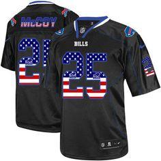 65c8fbe8f8e Nike Elite LeSean McCoy Black Men's Jersey - Buffalo Bills #25 NFL USA Flag  Fashion