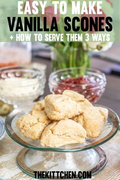 This scones recipe makes making scones easy! Plus you'll learn how to serve them 3 different ways. Click to find the vanilla scones recipe to make for a week for breakfast and as snacks! #vanilla #dessert #dessertrecipes #breakfast #breakfastlovers #breakfastrecipes #snackgoals #snacks #recipeoftheday #recipe_to_go #recipeideas