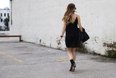 Black slip dress, bandana, crossbody look for fall #fallfashion #ontheblog