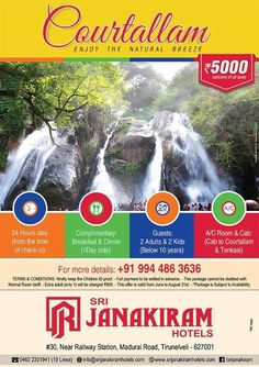 Enjoy COURTALLAM tour with Srijanakiram Hotels.  Our Exclusive Package includes: * 24 Hours stay * Complementary Breakfast & Dinner * Guests 2 Adullts & 2 Kids * A/c Room & Cab Have a joyful trip! Happy Journey! For more details:+91 9944863636