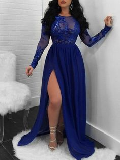 Sparkling A-Line Royal Blue Evening Dress Long Sleeve Lace Appliques Sequined High Slit Round Neck Prom Dresses Elegant Formal Party Gowns My+email:+lorlaris@ Please+refer+to+our+size+chart+carefully+before+you+place+the+order.+If+standard+size+does+not Royal Blue Evening Dress, Royal Blue Prom Dresses, Long Sleeve Evening Dresses, Blue Evening Dresses, Prom Dresses Long With Sleeves, Plus Size Prom Dresses, Plus Size Gala Dress, Royal Blue Bridesmaids, Royal Blue Lace Dress