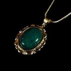 Handmade Green Mountain Jade Oval Gemstone Pendant Necklace 18K Gold Plated #KarynPeters #Chain