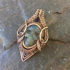 Labradorite Skull Copper Wire Wrap Wire Wrapped Pendant