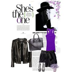 black and purple, created by lorio1 on Polyvore fun outfit for daytime.. friends or with that special guy.. edgy and classic
