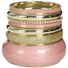 Epoxy Glitter Bangle Set ($13) ❤ liked on Polyvore featuring jewelry, bracelets, accessories, gold tone bracelet, bangle bracelet set, wrap bracelet, hinged bangle bracelet en wet seal