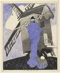 Lyonel Feininger   The Miller and His Child (Der Müller und sein Kind) 1907,  Ink, crayon and opaque watercolor on paper.