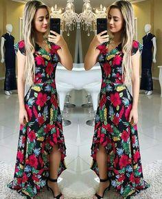 Vestido arredondado Pretty Prom Dresses, 15 Dresses, Beautiful Dresses, Casual Dresses, Fashion Dresses, Dress Outfits, Floral Maxi Dress, Dress Skirt, Moda Plus