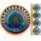 Vintage Czech glass peacock button
