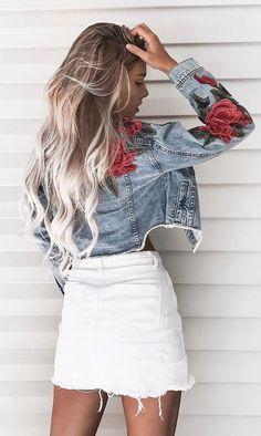 #summer #outfits  Denim Floral Jacket + White Denim Skirt