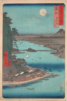 Hiroshige - Omi,  Ishiyama on Biwa Lake, 1853
