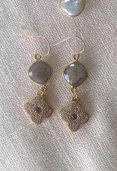 Labradorite Gold Quatrefoil Bronze Earrings by trebelladallas, $52.00 etsy.com/shop/trebelladallas