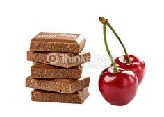 Stock Photo : cherry and chocolate isolated