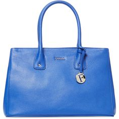 Furla Serena Medium Grained Leather Tote (215 AUD) ❤ liked on Polyvore featuring bags, handbags, tote bags, blue, furla, full grain leather purse, blue tote, medium tote bag and blue purse