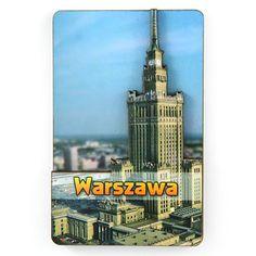 MDF-magneetti Varsovan palatsi. MDF-magneetti, kaksikerroksinen (kuperilla elementeillä), jossa esitellään kulttuuripalatsia Varsovassa. #varsova #magneetti #jääkaappimagneetti #pkin Sissi, Willis Tower, Building, Travel, Warsaw, Magnets, Shopping, Viajes, Buildings