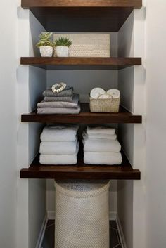 Crafting an Open + Airy Bathroom Retreat without Changing the Footprint is part of Rustic bathroom shelves This master bathroom got a fresh overhaul with floor to ceiling subway tile, modern sconces - Rustic Bathroom Shelves, Bathroom Storage Shelves, Bathroom Organization, Organization Ideas, Glass Shelves, Rustic Shelves, In Wall Shelves, Dark Wood Shelves, Diy Closet Shelves