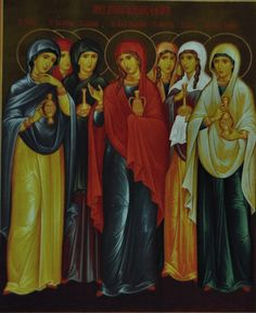 The Myrrh-bearing Women, 2nd Sunday following Pascha - Mary Magdalene, Joanna, Salome, Mary the wife of Cleopas (or Alphaeus), Susanna, Mary of Bethany, Martha of Bethany Kontakion - Tone 2 You did command the myrrh-bearers to rejoice, O Christ! By Your Resurrection, You did stop the lamentation of Eve, O God! You did command Your apostles to preach: The Savior is Risen!