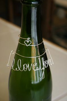 "Wine Bottle ""I Love You"" Charm #valentinesday #DIY"