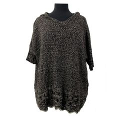 One A Brown Off White Hooded Poncho Sweater V Neck Dolman Sleeve Top New | eBay