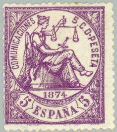 I REPÚBLICA - AÑO 1874. Alegoría de la Justicia.