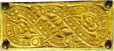 Intertwining Dragon mount in gold  6th century CE. Valsgarde, Sweden viking  gold