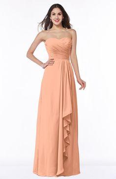 Salmon Classic A-line Zipper Chiffon Floor Length Plus Size Bridesmaid Dresses