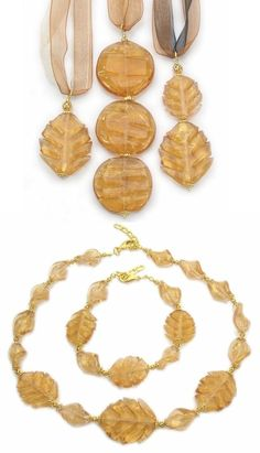 Exquisite Murano glass jewellery. Wholesale fashion jewelry necklace, bracelet and pendants made from leaf glass beads (mm.35) with 24k gold foil.