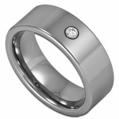 8MM Pipe Cut Men's Tungsten Wedding  Ring w/ Simulated Diamond. Engraving is available for this ring at #ringninja. $69.99.       http://ring-ninja.com/tungstenring-rntu087.html
