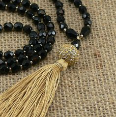 Long Luxe Tassel Necklace Faceted Czech black by MMDJewellery. Mad about tassels! Crystal Beads, Crystals, Gold Silk, Tassel Necklace, Tassels, Glamour, Jewellery, Boho, Trending Outfits