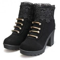 Artificial Leather Lace Bead Metal Ankle Zipper Platform Chunky Heel Boots #GothicFashion