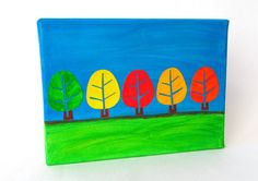 Trees  Canvas Art  Mixed Media  Decoupage on Canvas by FifiCo, €23.00