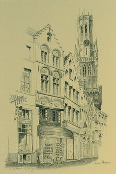 Brugge, pentekening, boek : Brugge, Antoine Meiresonne, Hilde De Bruyne, 1995