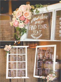 vintage window seating chart @weddingchicks