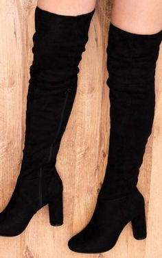 f7f0fe2ab345 Lincoln Block Heel Over Knee Tall Boots Black Suede Style By SpyLoveBuy