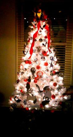 nightmare before christmas, christmas tree....with handmade and drawn ornaments..