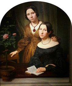 """Portrait of two women by Anonymous from Germany, 1830s, National Museum in Warsaw. Displayed during 2010 temporary exhibition of homoerotic art """"Ars Homo Erotica"""" in the National Museum in Warsaw. #detail #painting #twowomen #artinpl #nationalmuseuminwarsaw #19thcentury #biedermeier Lesbian Art, Lesbian Love, Victorian Paintings, Gal Pal, Photo Craft, Love Art, Besties, Ball Gowns, Art Photography"""