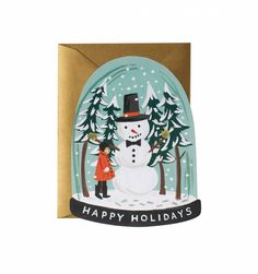 Snow Globe Available as a Single Die Cut Flat Note or Boxed Set of 8